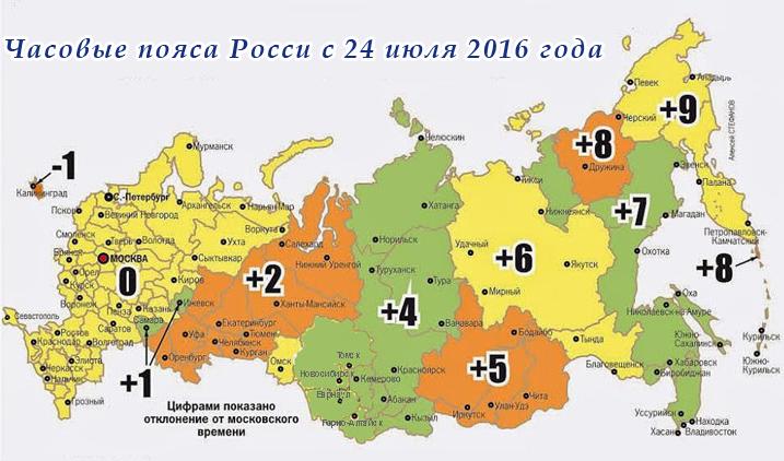 карта - часовые пояса России