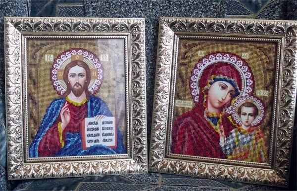 вышивка венчальных икон из бисера