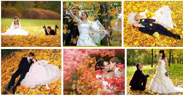 фотографии осенней свадьбы