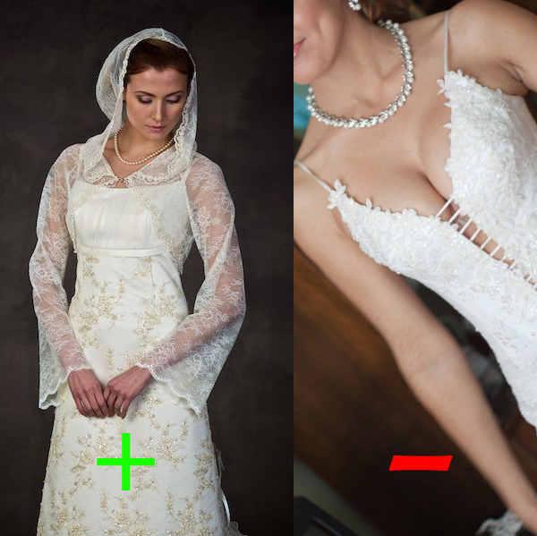 свадебное платье с глубоким декольте для венчания