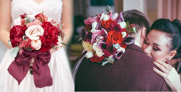 Марсаловый букет невесты