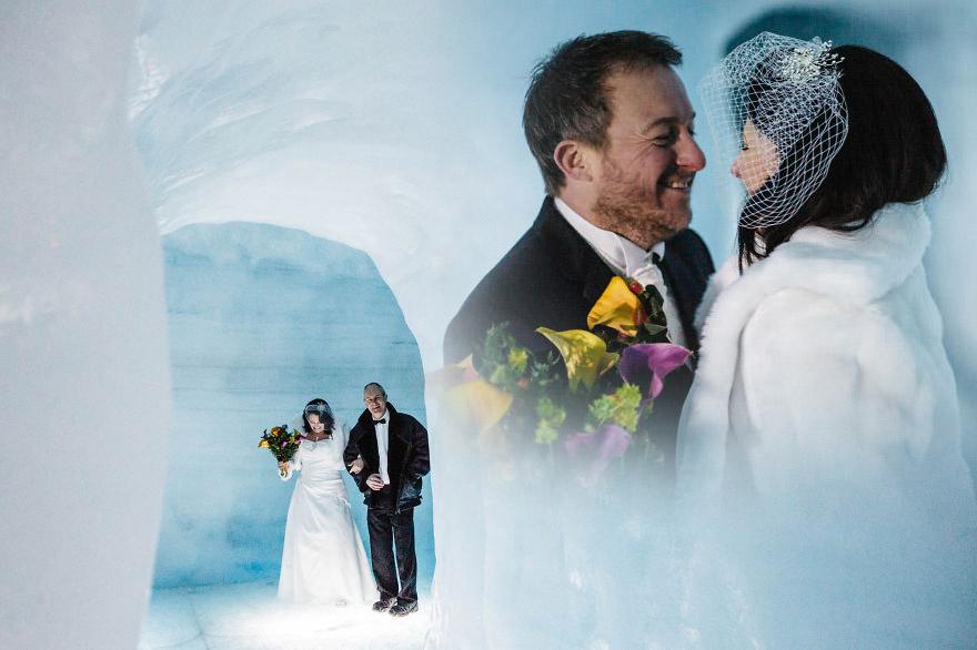 фотоколлаж свадьба и лёд